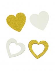 12 Confettis en bois cœurs blancs et dorés 2 x 2 cm