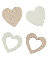 12 Confettis en bois cœurs blancs et rose gold 2 x 2 cm