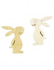 6 Confettis en bois lapins 3,3 x 4 cm