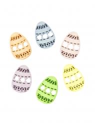 12 Confettis en bois oeufs pastel 1,4 x 2 cm