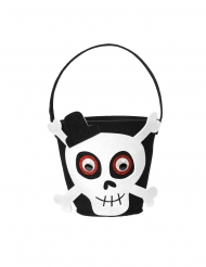 Panier tête de squelette en feutrine Halloween