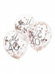 5 Ballons transparents confettis rose gold 40 ans 30 cm