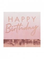 16 Serviettes en papier Happy Birtdhay rose gold 16 x 16 cm