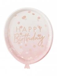8 Assiettes en carton ballons d'anniversaire rose gold 29 x 24 cm