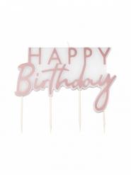 Bougie Happy Birthday rose gold 11 x 12,5 cm