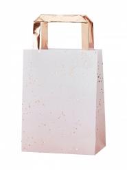 5 Sacs en papier rose ombré et rose gold 27 x 17 cm