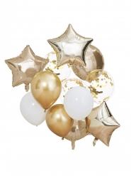 12 Ballons latex, aluminium et confettis dorés