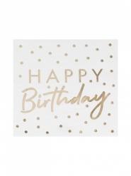 16 Serviettes en papier Happy Birthday dorées 16 x 16 cm