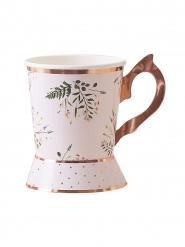 8 Gobelets en carton tasse de thé rose gold florale 10 cm