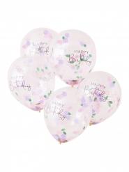 5 Ballons transparents confettis fleurs 30 cm