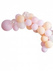 Kit arche de 60 ballons en latex pastel et confettis