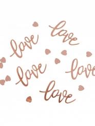 Confettis en carton love et cœurs rose gold 13 g