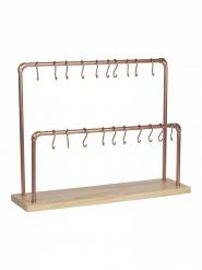Présentoir en bois et cuivre 20 crochets 55 x 42 cm