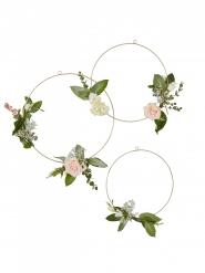 3 Cercles dorés fleuris 30, 35 et 40 cm