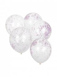 5 Ballons transparents paillettes roses 30 cm