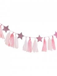 Guirlande tassel rose et blanche avec étoiles 2 m