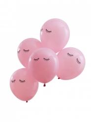 5 Ballons en latex roses avec cils 30 cm