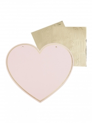 4 Pancartes cœur à personnaliser avec stickers 23 x 21 cm