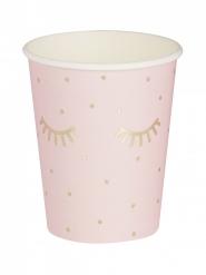 8 Gobelets en carton rose pyjama party 15 x 8 cm