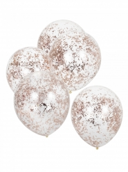 5 Ballons transparents confettis rose gold 30 cm