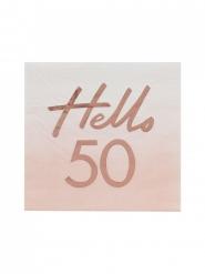 16 Serviettes en papier rose gold 50 ans 16 X 16 cm