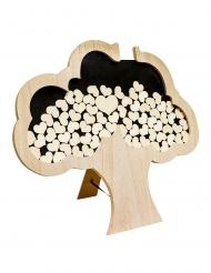 Livre d'or arbre en bois 60 x 55 cm 72 cœurs