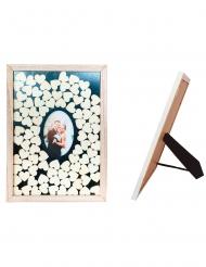 Livre d'or cadre photo en bois 43 x 31 cm 90 cœurs