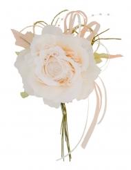 Fleur ivoire dentelle et perles 11 x 20 cm