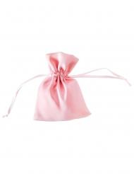 4 Pochons en satin rose pastel 8 x 10 cm