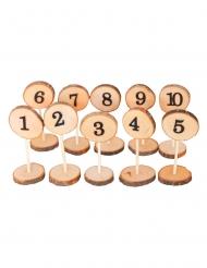 10 Marque tables rondins de bois 1 à 10 5 x 13,5 cm