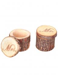 2 Boîtes pour alliances en bois Mr & Mrs 5,5 x 4 cm