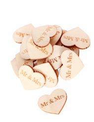 50 Confettis en bois cœurs Mr & Mrs 2,5 x 2 cm
