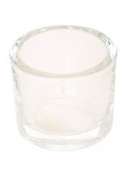 Bougeoir en verre rond transparent 6,5 x 5,7 cm