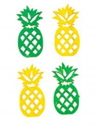 18 Ananas en bois jaune et vert 3,5 x 1,7 cm