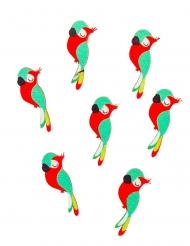 12 Confettis en bois adhésifs perroquet mignon 3 x 1 cm
