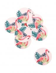 12 Confettis adhésifs flamant rose tropical 2,8 cm