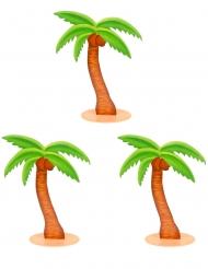 3 Décorations en bois palmiers 9 cm