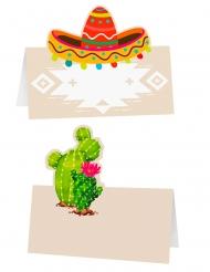 6 Marque-places cactus et sombrero 8 x 8 cm