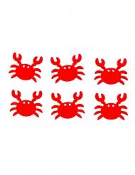6 Crabes en bois adhésifs rouges 3,5 x 3 cm