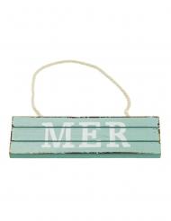 Pancarte à suspendre en bois Mer bleue 15 x 4,5 cm