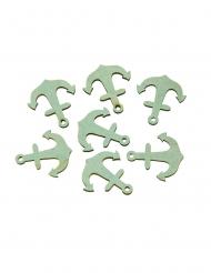 18 Confettis en bois ancres bleu ciel 3,5 cm