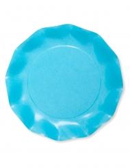 8 Assiettes en carton compostable turquoise 27 cm