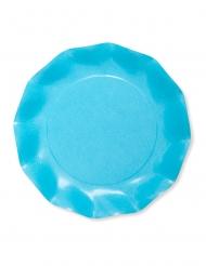 8 Petites assiettes en carton compostable turquoise 21 cm