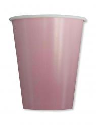 8 Gobelets en carton compostable roses 250 ml