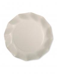 8 Petites assiettes en carton compostable ivoire 21 cm