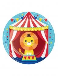8 Petites assiettes en carton Animaux du cirque 18 cm