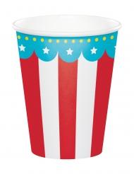 8 Gobelets en carton Animaux du cirque 256 ml