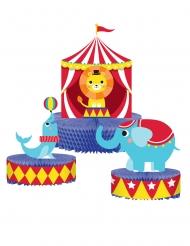 3 Centres de table en papier alvéolé Animaux du cirque