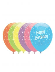 6 Ballons en latex Happy Birthday étoiles multicolores 30 cm