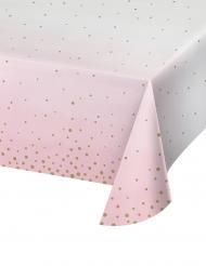 Nappe en papier rose et blanche pois dorés 137 x 259 cm